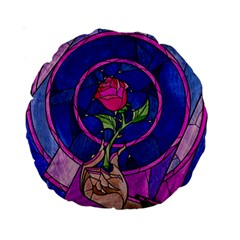 Enchanted Rose Stained Glass Standard 15  Premium Round Cushions