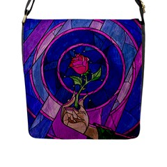 Enchanted Rose Stained Glass Flap Messenger Bag (l)