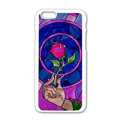 Enchanted Rose Stained Glass Apple Iphone 6/6s White Enamel Case