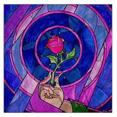 Enchanted Rose Stained Glass Large Satin Scarf (square)