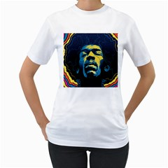 Gabz Jimi Hendrix Voodoo Child Poster Release From Dark Hall Mansion Women s T Shirt (white) (two Sided)
