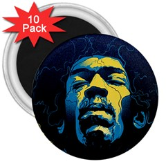 Gabz Jimi Hendrix Voodoo Child Poster Release From Dark Hall Mansion 3  Magnets (10 Pack)