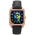 Gabz Jimi Hendrix Voodoo Child Poster Release From Dark Hall Mansion Rose Gold Leather Watch  Front