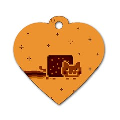 Nyan Cat Vintage Dog Tag Heart (one Side)