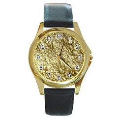 Crumpled Foil 17c Round Gold Metal Watch