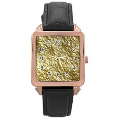 Crumpled Foil 17c Rose Gold Leather Watch