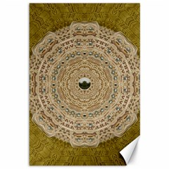 Golden Forest Silver Tree In Wood Mandala Canvas 12  X 18