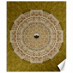 Golden Forest Silver Tree In Wood Mandala Canvas 20  X 24