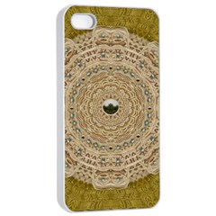 Golden Forest Silver Tree In Wood Mandala Apple Iphone 4/4s Seamless Case (white)