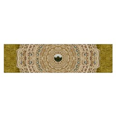 Golden Forest Silver Tree In Wood Mandala Satin Scarf (oblong)