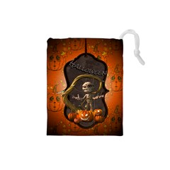 Halloween, Funny Mummy With Pumpkins Drawstring Pouches (small)