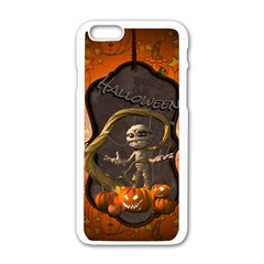 Halloween, Funny Mummy With Pumpkins Apple Iphone 6/6s White Enamel Case