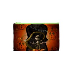 Halloween, Funny Mummy With Pumpkins Cosmetic Bag (xs)