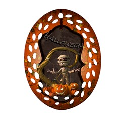 Halloween, Funny Mummy With Pumpkins Oval Filigree Ornament (two Sides)