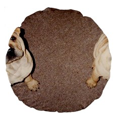 2 Tan Shar Pei Puppies Large 18  Premium Round Cushions