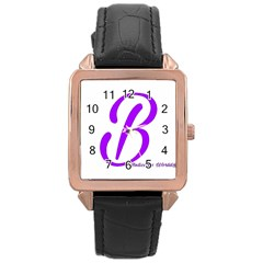 Belicious World  b  Blue Rose Gold Leather Watch