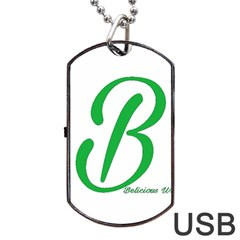 Belicious World  b  In Green Dog Tag Usb Flash (two Sides)