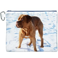 Dogue De Bordeaux In Snow Canvas Cosmetic Bag (xxxl)