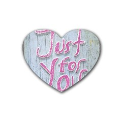 Letters Quotes Grunge Style Design Heart Coaster (4 Pack)