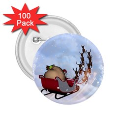 Christmas, Santa Claus With Reindeer 2 25  Buttons (100 Pack)