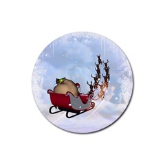 Christmas, Santa Claus With Reindeer Rubber Coaster (round)
