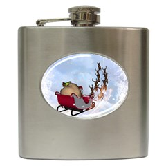 Christmas, Santa Claus With Reindeer Hip Flask (6 Oz)
