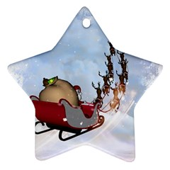 Christmas, Santa Claus With Reindeer Star Ornament (two Sides)