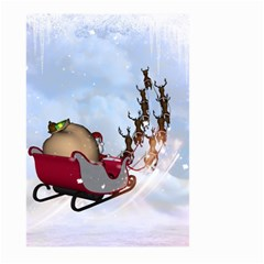 Christmas, Santa Claus With Reindeer Large Garden Flag (two Sides)