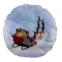 Christmas, Santa Claus With Reindeer Large 18  Premium Flano Round Cushions