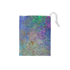 Colorful Pattern Blue And Purple Colormix Drawstring Pouches (small)