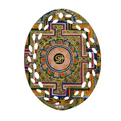 Asian Art Mandala Colorful Tibet Pattern Oval Filigree Ornament (two Sides)