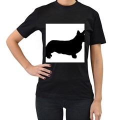 Ccardigan Welsh Corgi Silo Black Women s T Shirt (black) (two Sided)