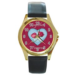 Love Concept Design Round Gold Metal Watch