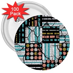 Distressed Pattern 3  Buttons (100 Pack)