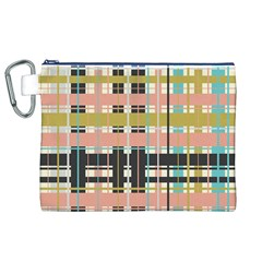 Plaid Pattern Canvas Cosmetic Bag (xl)