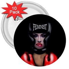 Feminist 3  Buttons (10 Pack)