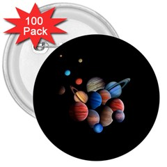 Planets  3  Buttons (100 Pack)