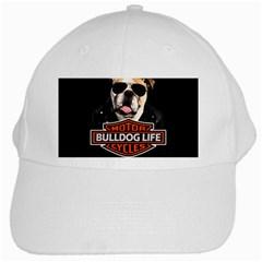 Bulldog Biker White Cap
