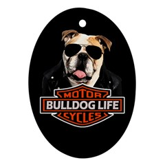 Bulldog Biker Ornament (oval)