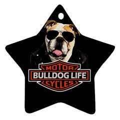Bulldog Biker Ornament (star)
