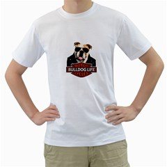 Bulldog Biker Men s T Shirt (white) (two Sided)