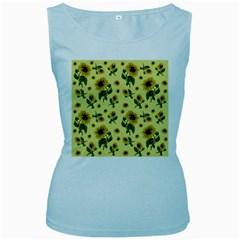 Sunflowers Pattern Women s Baby Blue Tank Top