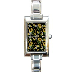 Sunflowers Pattern Rectangle Italian Charm Watch