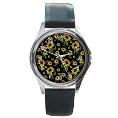 Sunflowers Pattern Round Metal Watch