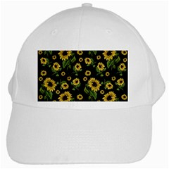 Sunflowers Pattern White Cap