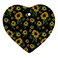 Sunflowers Pattern Ornament (heart)