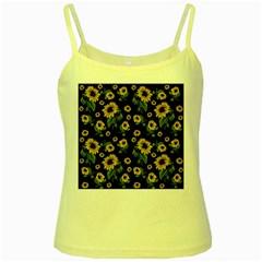 Sunflowers Pattern Yellow Spaghetti Tank