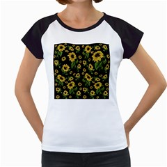 Sunflowers Pattern Women s Cap Sleeve T