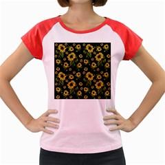 Sunflowers Pattern Women s Cap Sleeve T Shirt