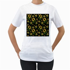 Sunflowers Pattern Women s T Shirt (white) (two Sided)